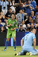 Mauro Rosales (10) midfielder Seattle Sounders celebrates his game tieing goal..... Sporting Kansas City were defeated 1-2 by Seattle Sounders at LIVESTRONG Sporting Park, Kansas City, Kansas.