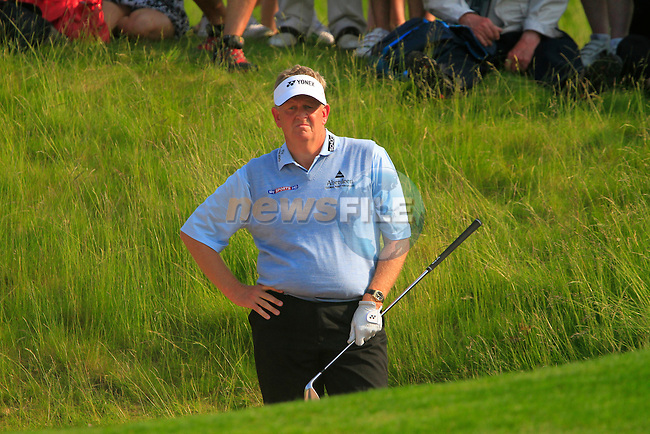 Colin Montgomerie plays his 3rd shot from a bunker at the 15th green during the 2nd Day of The Celtic Manor Wales Open, 4th June 2010 (Photo by Eoin Clarke/GOLFFILE).