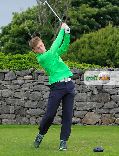 Darren Houlihan (Douglas) on the 1st tee during R2 of the 2016 Connacht U18 Boys Open, played at Galway Golf Club, Galway, Galway, Ireland. 06/07/2016. <br /> Picture: Thos Caffrey | Golffile<br /> <br /> All photos usage must carry mandatory copyright credit   (&copy; Golffile | Thos Caffrey)