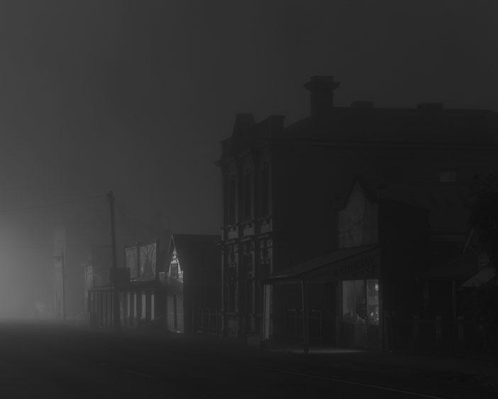 Night's Cold Door Left Ajar<br /> <br /> Main Street in fog <br /> Natimuk<br /> 2011