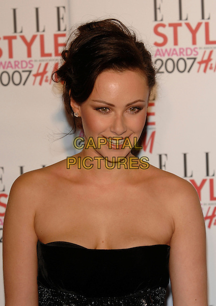 CAMILLA AL FAYED.Inside - ELLE Style Awards,.The Roundhouse, Chalk Farm Road, .London, England, February 12th 2007..portrait headshot strapless black and white striped dress.CAP/PL.©Phil Loftus/Capital Pictures