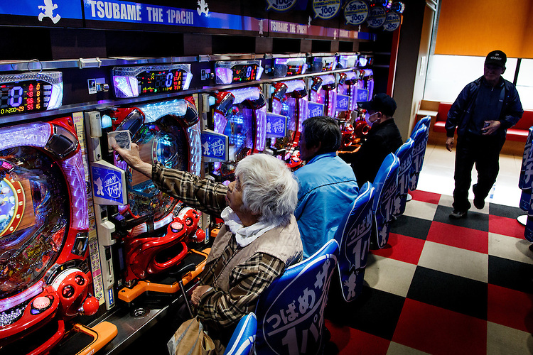 Minami-Soma, Fukushima prefecture, November10 2013 - A lot of refugees from the no-go zone spend their time and money at pachinkos (gambling and game arcade).