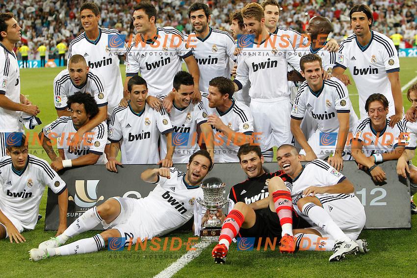"Real Madrid's players during Spanish Supercup 2nd match on august 29 2012...Photo: Cebola / Cid-Fuentes / ALFAQUI .Madrid 29/8/2012 Stadio ""Santiago Bernabeu"".Football Calcio 2012/2013 Supercoppa di Lica.Real Madrid Vs Barcellona.Foto Insidefoto / Alterphotos"