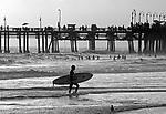Surfer at Santa Monica Beach