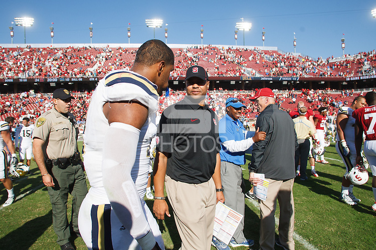 STANFORD,CA-- October 19, 2013: David Shaw, head coach, during the Stanford vs UCLA game Saturday afternoon at Stanford Stadium.<br /> <br /> Stanford won 41-10.