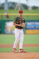 Clearwater Threshers starting pitcher Nick Fanti (29) gets ready to deliver a pitch during a game against the Florida Fire Frogs on June 2, 2018 at Spectrum Field in Clearwater, Florida.  Clearwater defeated Florida 10-6.  (Mike Janes/Four Seam Images)