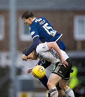 7th March 2020; Somerset Park, Ayr, South Ayrshire, Scotland; Scottish Championship Football, Ayr United versus Dundee FC; Tom Field of of Dundee challenges for the ball with Jordan Houston of Ayr United