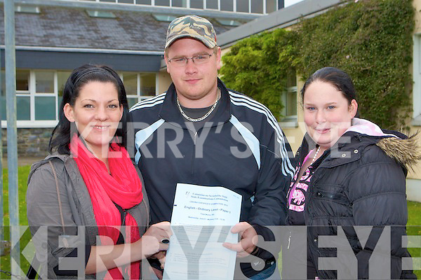 Sheila McCarthy, Liam Mackie and Marie O'Leary who was happy with the Leaving Cert English paper after sitting it in Killarney Community College on Wednesday