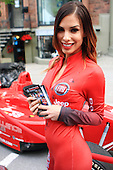 A young hostess for the Jeep and Fiat street display held during the Grand Prix Weekend in downtown Montreal