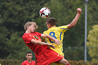 20190927 - WOLVERTEM , BELGIUM : Belgian Lian De Smet (L) and Ukraine's Yehor Yarmoliuk (R) pictured during the friendly  soccer match between  under 16 teams of  Belgium and Ukraine , in Wolvertem , Belgium . Thursday 26 th September 2019 . PHOTO SPORTPIX.BE / DIRK VUYLSTEKE