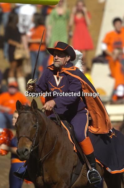 03 November 2007:  The Virginia Cavalier mascot with horse..The Virginia Cavaliers defeated the Wake Forest Demon Deacons  17-16 November 3, 2007 at Scott Stadium in Charlottesville, VA..