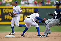 Round Rock Express shortstop Jurickson Profar #10 places the tag on New Orleans Zephyrs outfielder Gorkys Hernandez #2 as he attempted to steal second base in the Pacific Coast League baseball game on April 21, 2013 at the Dell Diamond in Round Rock, Texas. Round Rock defeated New Orleans 7-1. (Andrew Woolley/Four Seam Images).