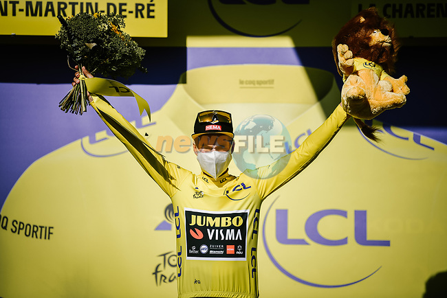 Race leader Primoz Roglic (SLO) Team Jumbo-Visma retains the Yellow Jersey at the end of Stage 10 of Tour de France 2020, running 168.5km from Ile d'Oléron to Ile de Ré, France. 8th September 2020.<br /> Picture: ASO/Pauline Ballet | Cyclefile<br /> All photos usage must carry mandatory copyright credit (© Cyclefile | ASO/Pauline Ballet)