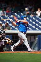 Iowa Cubs designated hitter Dan Vogelbach (20) at bat during a game against the Nashville Sounds on May 4, 2016 at First Tennessee Park in Nashville, Tennessee.  Iowa defeated Nashville 8-4.  (Mike Janes/Four Seam Images)
