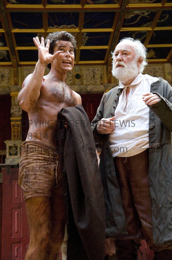 King Lear by William Shakespeare ,directed by Dominic Dromgoole. With David Calder as Lear,Trystan Granvelle as Edgar. Opens at Shakespeare's Globe Theatre  on 2/5/08. CREDIT Geraint Lewis
