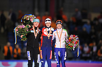 SCHAATSEN: HEERENVEEN: Thialf, Essent ISU World Single Distances Championships, 22-03-2012, Podium 3000m Ladies, Stephanie Beckert (GER), Martina Sábliková (CZE), Ireen Wüst (NED), ©foto Martin de Jong
