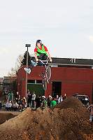 BMX Dirt jumping at the Fix in Boulder, Colorado on St. Patrick's Day, March 17, 2009.