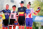 The podium 1st Jolien D'hoore (BEL) Wiggle High5, 2nd place Coryn Rivera (USA) Team Sunweb, 3rd place Roxane Fournier (FRA) FDJ Nouvelle Aquitaine-Futuroscope and points winner Emilie Moberg (NOR) Hitec Products at the end of the Madrid Challenge by La Vuelta 2017, ridden over 87km 15 laps on a 5.8km route around the iconic Plaza Cibeles, Madrid, Spain. 10th September 2017.<br /> Picture: Unipublic/&copy;photogomezsport | Cyclefile<br /> <br /> <br /> All photos usage must carry mandatory copyright credit (&copy; Cyclefile | Unipublic/&copy;photogomezsport)