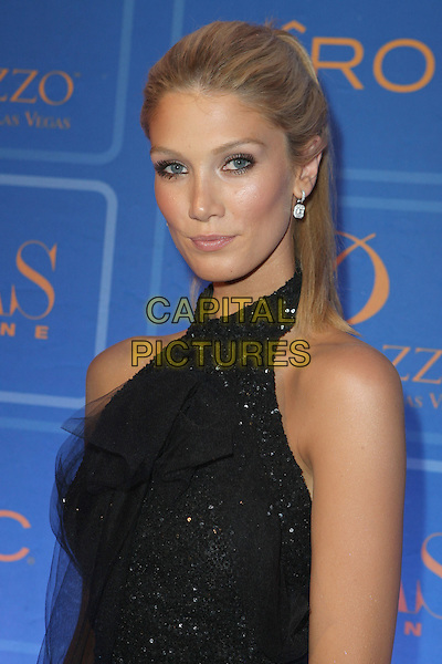 DELTA GOODREM.Vegas Magazine 5th Anniversary held at The Palazzo Resort Hotel Casino, Las Vegas, Nevada, USA..June 21st, 2008.half length black dress sequined sequins beaded halterneck sleeveless chiffon .CAP/ADM/MJT.© MJT/AdMedia/Capital Pictures.
