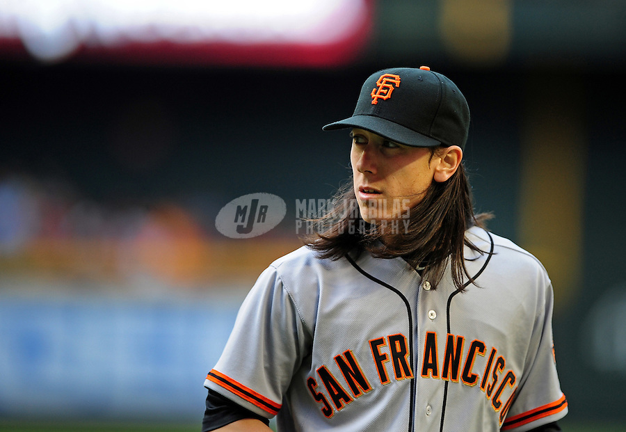 Apr. 6, 2012; Phoenix, AZ, USA; San Francisco Giants pitcher Tim Lincecum in the fourth inning against the Arizona Diamondbacks during opening day at Chase Field.  Mandatory Credit: Mark J. Rebilas-