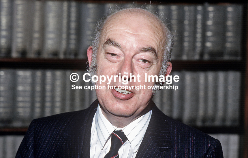 Dr Rhodes Boyson, MP, Conservative Party, UK, junior minister, N Ireland Office, 19840117RB1.<br />