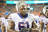 Buffalo Bills center Fernando Velasco (61) leaves the field at halftime during the pre-season game against the Washington Redskins at FedEx Field in Landover, Maryland on Friday, August 26, 2016.  The Redskins won the game 21 - 16.<br /> Credit: Ron Sachs / CNP