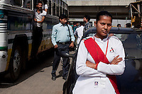 Mamta, aged 26 on the streets of Delhi on 30th March 2010.<br /> These female drivers were part of a program by Azad Foundation.<br /> Currently training their 4th batch of students, Azad Foundation was set up by Meenu Vadera (Executive Director) in New Delhi, India, to train Indian women in driving services. Upon completion, these women work as personal drivers for a period of time before they upgrade their driving licences to commercial licences, allowing them to drive taxis. With this program, Azad aims to empower Indian women including those previously abused or trafficked, while making Delhi a safer place for women travelling in public transport. Photo by Suzanne Lee for Panos London