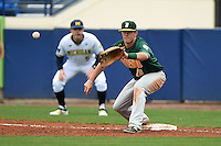 Siena Saints infielder Brian Fay (28) stretches for a throw during the second game of a doubleheader against the Michigan Wolverines on February 27, 2015 at Tradition Field in St. Lucie, Florida.  Michigan defeated Siena 6-0.  (Mike Janes/Four Seam Images)