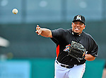13 March 2012: Miami Marlins pitcher Carlos Zambrano on the mound during a Spring Training game against the Atlanta Braves at Roger Dean Stadium in Jupiter, Florida. The two teams battled to a 2-2 tie playing 10 innings of Grapefruit League action. Mandatory Credit: Ed Wolfstein Photo