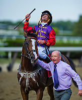 ELMONT, NY - JUNE 08: Jockey, Javier Castellano celebrates after Call to Mind, #1, owned and bred my Her Majesty Queen Elizabeth II, won the Belmont Gold Cup Invitational during Friday racing action of the Belmont Stakes Festival at Belmont Park on June 8, 2018 in Elmont, New York. (Photo by Scott Serio/Eclipse Sportswire/Getty Images)