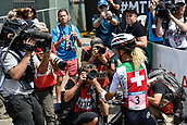 9th September 2017, Smithfield Forest, Cairns, Australia; UCI Mountain Bike World Championships; Jolanda Neff (SUI) riding for Kross Racing Team with the media after winning the elite womens cross country race