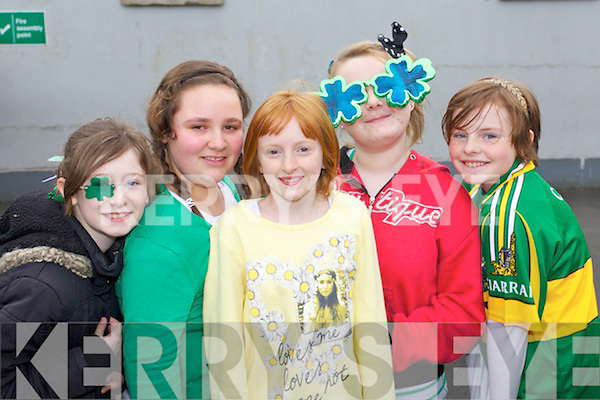 Pictured are Scoil Eoin Balloonagh pupils at their St. Patricks Parade on Friday, from left: Angel OBrien, Laurie OShea-Murphy, Majella Votta, Clara OSullivan and Sinead Foran..