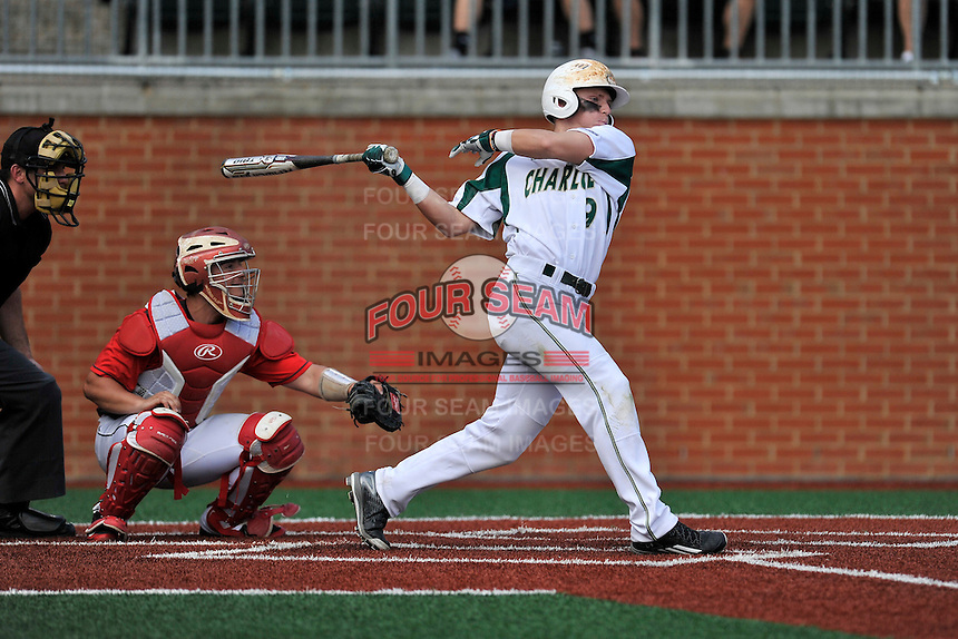 Second baseman Brett Netzer (9) of the Charlotte 49ers bats in a game against the Fairfield Stags on Saturday, March 12, 2016, at Hayes Stadium in Charlotte, North Carolina. The Stags catcher is Kevin Radziewicz and the home plate umpire is Darin Tyson. (Tom Priddy/Four Seam Images)