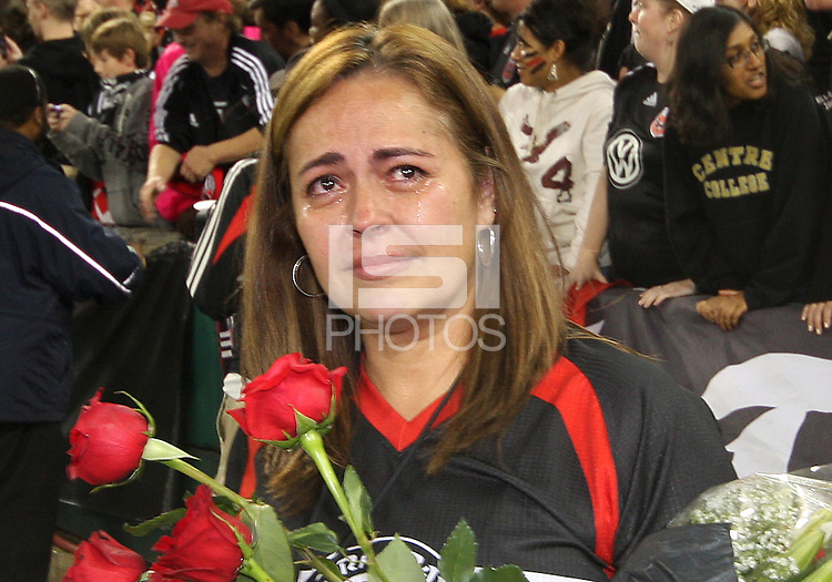 Fan cries during video tribute to Jaime during festivities surrounding the final appearance of Jaime Moreno in a D.C. United uniform, at RFK Stadium, in Washington D.C. on October 23, 2010. Toronto won 3-2.