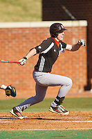 Patrick Lancaster (24) of the Bowling Green Falcons follows through on his swing against the High Point Panthers at Willard Stadium on March 9, 2014 in High Point, North Carolina.  The Falcons defeated the Panthers 7-4.  (Brian Westerholt/Four Seam Images)