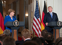 United States President Donald J. Trump and Chancellor Angela Merkel of Germany conduct a joint press conference in the East Room of the White House in Washington, DC on Friday, April 27, 2018.<br /> Credit: Ron Sachs / CNP /MediaPunch