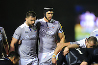 Elliott Stooke and Luke Charteris of Bath Rugby at a scrum. Aviva Premiership match, between Newcastle Falcons and Bath Rugby on January 6, 2017 at Kingston Park in Newcastle upon Tyne, England. Photo by: Patrick Khachfe / Onside Images