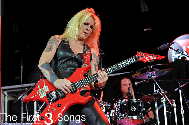 Lita Ford performs on July 2, 2012 at Riverbend Music Center in Cincinnati, Ohio.