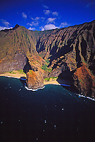 Aerial of the beautiful, rugged Na Pali coastline on Kauai's north shore, world famous for hiking and remote white sand beaches.