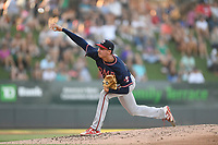 Starting pitcher Alan Rangel (55) of the Rome Braves delivers a pitch in a game against the Greenville Drive on Friday, June 28, 2019, at Fluor Field at the West End in Greenville, South Carolina. Rome won, 4-3. (Tom Priddy/Four Seam Images)
