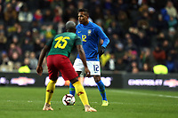 Alex Sandro of Brazil and Juventus and Jeando Fuchs of Cameroon and Sochaux during Brazil vs Cameroon, International Friendly Match Football at stadium:mk on 20th November 2018