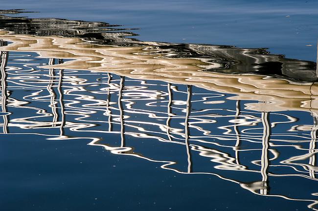 Water Reflection of marina walkway
