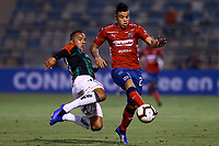 SANTIAGO DE CHILE - CHILE: 06-02-2019: Enzo Guerrero de Club Deportivo Palestino (CHL) disputa el balón con Leonardo Castro de Deportivo Independiente Medellín (COL), durante partido de la Segunda fase, llave 4, entre Club Deportivo Palestino (CHL) y Deportivo Independiente Medellín (COL), por la Copa Conmebol Libertadores 2019 en el Estadio San Carlos de Apoquindio, de la ciudad de Santiago de Chile. / Enzo Guerrero of Club Deportivo Palestino (CHL), vies for the ball with Leonardo Castro of Deportivo Independiente Medellin (COL), during a match between Club Deportivo Palestino (CHL) and Deportivo Independiente Medellin of the second phase, key 4, for Copa Conmebol Libertadores 2019 at the San Carlos de Apoquindio Stadium, in the city of Santiago de Chile. Photos: VizzorImage / Osvaldo Villarroel / Cont. / Xpress Media