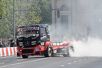 OXXO Racing's two times European Truck Racing Champion Norbert Kiss performs with his racing truck during the Great Run sports car show held in downtown Budapest, Hungary on May 1, 2019. ATTILA VOLGYI