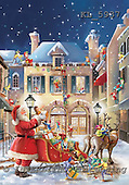 Interlitho, Simonetta, CHRISTMAS SANTA, SNOWMAN, paintings, santa, sleigh, houses, KL5937,#X# Weihnachtsmänner, Papá Noel, Weihnachten, Navidad, illustrations, pinturas klassisch, clásico