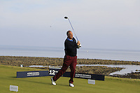 Sir Steve Redgrave (AM) on the 12th tee during Round 3 of the 2015 Alfred Dunhill Links Championship at Kingsbarns in Scotland on 3/10/15.<br /> Picture: Thos Caffrey | Golffile