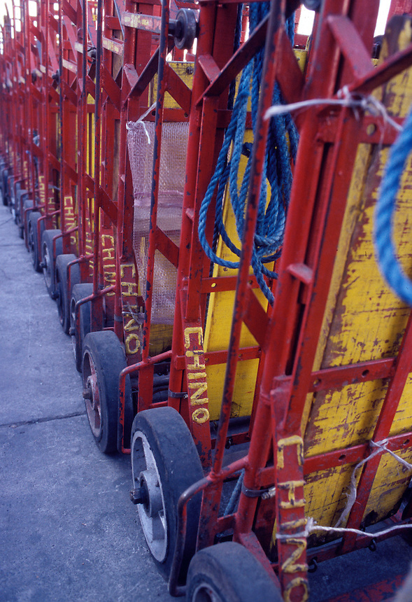 Hand trucks at the central de abastos, this is where most of the food arrives in Mexico before being distributed throughout the city.