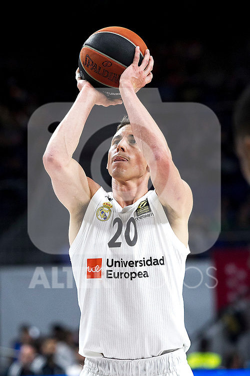 Real Madrid's Jaycee Carroll during Euroligue match between Real Madrid and Zalgiris Kaunas at Wizink Center in Madrid, Spain. April 4, 2019.  (ALTERPHOTOS/Alconada)