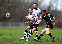 TORONTO, ON - MAY 05:  Ryan Brierley #7 of the Toronto Wolfpack passes the ball in the first half of a Betfred Championship match against the Swinton Lions at Fletcher's Fields on May 5, 2018 in Toronto, Canada.  (Photo by Vaughn Ridley/SWpix.com)
