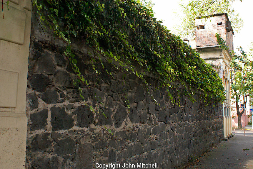 Fortified walls surrounding the Museo Casa de Leon Trotsky or Leon Trotsky House Museum in Coyoacan, Mexico City